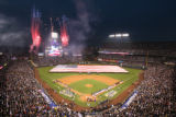 [432] National anthem pregame festivities before  Game 3 of the World Series on Saturday evening,...