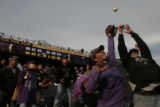 [289} Colorado Rockies fans Brice Phannenstiel and Dustin Styalcup, (lt-rt) both miss a ball hit...