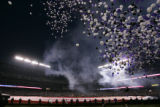 [445} Balloons rise in  to the night sky during a pre-game ceremony of Game 3 of the World Series,...