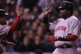 [RMN1240] Red Sox David Ortiz scores off a single by Mike Lowell at the top of the third inning...