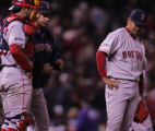 [RMN1406] Red Sox starting pitcher Daisuke Matsuzaka waits to be replaced by Javier Lopez in the...