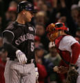 [RMN656] Colorado Rockies' third batter Matt Holliday strikes out in the first inning during Game...