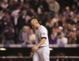 [5367]  Colorado Rockies Matt Holliday walks away from the batter's box after striking out to end...