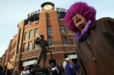 MJM457  Colorado Rockies fan, Charlie Johnson (cq) of Denver, shows off his purple pride as he...