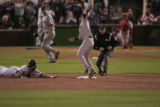 [195} Colorado Rockies Todd Helton slide in to second beating Boston Red Sox, Dustin Pedroia on a...