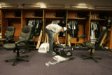 [341} Colorado Rockies Jeff Francis, packs his bag in the Rockies Clubhouse after the Rockies lost...
