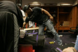 0476 Colorado Rockies Yorvit Torrealba cleans out his locker in the clubhouse the day after the...