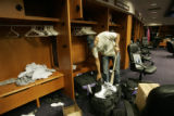 0543 Colorado Rockies' Ubaldo Jimenez  cleans out his locker in the clubhouse the day after the...