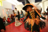 MJM730  Dressed as a witch, Alma Rodriguez, 5, dances Tuesday 10/30/07 at Anchor Center for Blind...