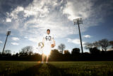 0068 Zak Bigelow, CQ, 19, a place kicker for the University of Northern Colorado stands on the...