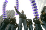 0186 Colorado Rockies manager Clint Hurdle waves to thousands of fans in Skyline Park as they...