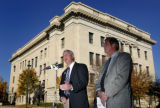 DM3340   Weld County District Attorney Kenneth Buck, left, and Weld County Sheriff John Cooke,...