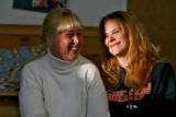 DM3346   Kris Schafer, 41, left, and Jennifer Carey, 26, have become friends during their stay at...