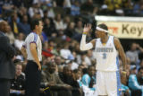 DM0142   Nuggets guard Allen Iverson pleads his case with the official after being called for a...