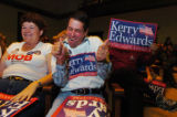 (9/30/04, DENVER, CO)  Democrats came out to watch Debate # 1 between President Bush and Senator...