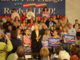 Sen. Hillary Rodham Clinton is surrounded by young girls who idolize her at an event in Oskaloosa,...