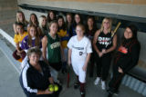 The 2007 Rocky Mountain News All-Colorado softball team: back row, from left - Kate Strobel,...