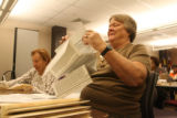 Election worker, Sigrid Freese, (right) of the Denver Election Commission sort through ballots for...