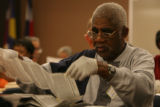 Election worker, Louis Freese, of the Denver Election Commission sort through ballots for the...