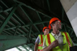 (from right) Jeff Anderson (cq), Program Manager for the Colorado Bridge Inspection program talks...