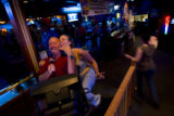 "Jason Price (CQ), 30, and Barbara Stephens (CQ), 24, sing a spirited ""Jump Around"" by..."