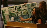 Former girlfriend of Mitch Cozad, Angela Vogel points to an area on a map where Cozad had parked...