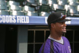 Rockies pitcher Manny Corpas hangs around the Rockies dug out before the game with the Pirates,...