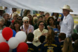 Sen. Ken Salazar speaks to community members outside the Las Animas County Courthouse in Trinidad,...