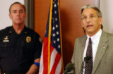 (FT COLLINS, Colo., SEPTEMBER 17, 2004) Fort Collins deputy proscutor Cliff Riedel, speaks to the...