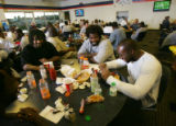 Bronco food.  Porterhouse steaks and lobster tails were cooked up and served to the Broncos for...