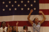 (AURORA, Colo., September17, 2004) kids get excited and cheer as mr. kerry enters the gym. John...