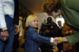 (10/06/2004) Englewood-Spencer Daly, 4,  meets Teresa Heinz Kerry during a meeting of Republicans...
