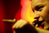 Peet Guercio (cq) of Denver performs during open mike night at Squire Lounge in Denver on Tuesday,...