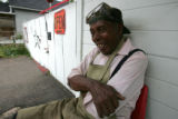 Joe Jordan (cq) sits outside his home August 27, 2007. He is 81 years old and has lived in 5...