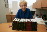 Brooke Wunnicke, 89 (cq) stands behind 19 books she has authored or co-authored since she was 67...