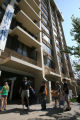 Lines form outside the Duward dorm at Colorado State University Thursday Aug 16, 2007 , as...