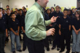 Chris Gibbons (cq) talks to his student body at the West Denver Prep Charter School on August 16,...