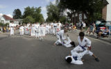 Members of the International Martial Arts Headquarters demonstrate their moves during the 72nd...