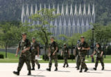 Aiir Force Cadets make their way to afternoon classes at the U. S. Air Force Academy in Colorado...