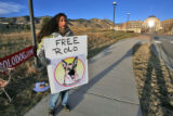 Laura Hagan (cq) protests her dog's death sentence outside of the Jefferson County Courthouse in...