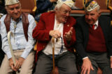 MJM002  Pearl Harbor survivors, Roland Banford (cq), 85, left to right, Jim Doyle (cq), 84, and...