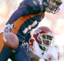 0594 Denver Broncos #14 Brandon Stokley, top, can't make a reception with Kansas City Chiefs#24 Ty...