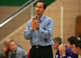 Arvada West head coach Eddie Reeves , coaches in tournament against Air Academy Tuesday afternoon...