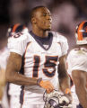 0839 Denver Broncos Brandon Marshall walks off the field after getting into a pushing match with...