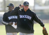 (0210) Batting Coach Don Baylor, left, and Manager Clint Hurdle, right, at Colorado Rockies spring...