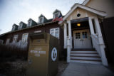 SR(020) A sign marks a drop-off book box in front of the Louviers Library Thursday afternoon, Feb....