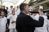 Denver Mayor John Hickenlooper toasts with area chefs as they kick-off of  Denver Restaurant Week...