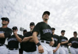 (0267) Troy Tulowitzki laughs during Ragball, a game where players try to field line drives for...