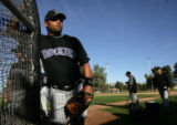 (0007) Catcher Yorvit Torrealba during spring training at Hi Corbett Field in Tucson, AZ, on...