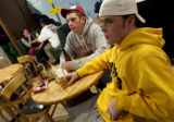 (BOULDER, Colo., Sep. 23, 2004) Zach Donenfield and Michael Porst (lt.-rt.), juniors at the...